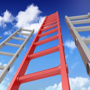 Red ladder with clouds